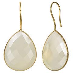 White Quartz 14K Gold Over Silver Drop Earrings