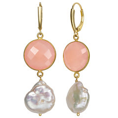 Pink Quartz 14K Gold Over Silver Drop Earrings