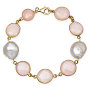 Womens 7.5 Inch Pink Quartz 14K Gold Over Silver Link Bracelet