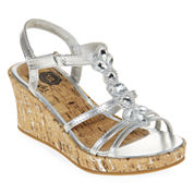 Total Girl® Macy Girls Wedge Sandals - Little Kids