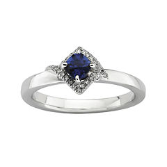 Personally Stackable 1/10 CT. T.W. Diamond and Lab-Created Sapphire Ring