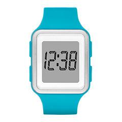 Womens Rectangular Blue Silicone Strap Digital Watch