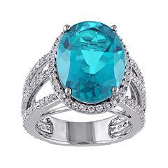 Genuine Blue Quartz and White Topaz Ring