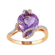 Genuine Amethyst and 1/7 CT. T.W. Diamond 10K Rose Gold Ring