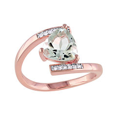 Genuine Green Amethyst and Diamond-Accent Sterling Silver Bypass Ring