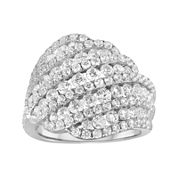 3 CT. T.W. Diamond 10K White Gold Swirl Cocktail Ring