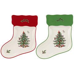 Spode® Christmas Tree Set of 2 Porcelain Stocking-Shaped Dishes