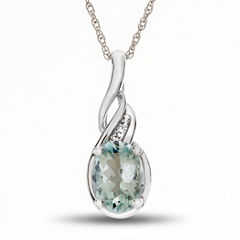 Womens Diamond Accent Blue Aquamarine Gold Pendant Necklace