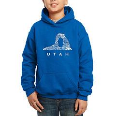 Los Angeles Pop Art Largest Cities And Parks In Utah Hoodie-Big Kid Boys