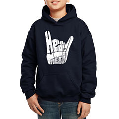 Los Angeles Pop Art Heavy Metal Fingers Words Heavy Metal Hoodie-Big Kid Boys