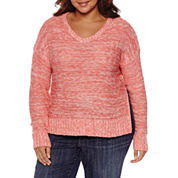 Arizona Marled Side Slit Sweater-Juniors Plus