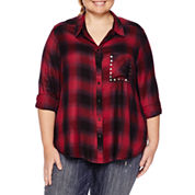 Arizona Long Sleeve Boyfriend Plaid Shirt with Studs-Juniors Plus