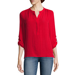 a.n.a® Long-Sleeve Shirred-Shoulder Tab Up Popover Top