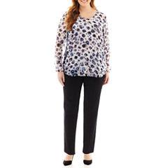 Liz Claiborne® V-Neck Blouse or Slim-Leg Jeans - Plus
