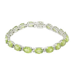 Womens 7.25 Inch Diamond Accent Green Peridot Sterling Silver Link Bracelet