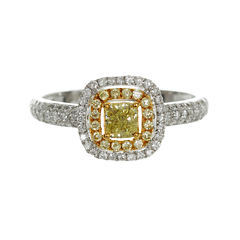 Womens 3/4 CT. T.W. Princess Yellow Diamond 18K Gold Engagement Ring