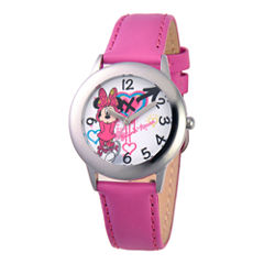 Disney Minnie Mouse Pink Leather Strap Watch