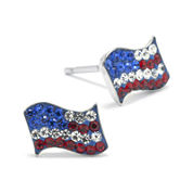 Crystal Sterling Silver American Flag Earrings