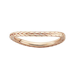 Personally Stackable 18K Rose Gold Over Sterling Silver Chevron Wave Ring