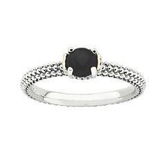 Personally Stackable Genuine Onyx Two-Tone Ring