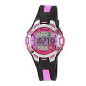 Armitron® Pro-Sport Womens Black/Pink Resin Strap Chronograph Sport Watch 45/7030PNKJ