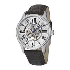 Stuhrling® Original Mens Brown Leather Strap Skeletonized Watch-8134