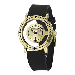 Stuhrling® Original Mens Black Rubber Strap Watch