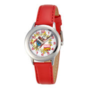 Marvel Thor Kids Red Leather & Silver-Tone Watch
