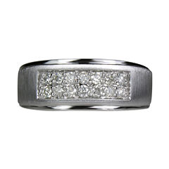 LIMITED QUANTITIES Mens 1/2 CT. T.W. Diamond 2-Row 10K White Gold Band