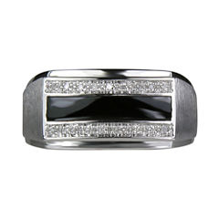 LIMITED QUANTITIES Mens Black Onyx & Diamond-Accent Ring