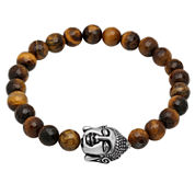 Mens Multi Color Tiger'S Eye Stainless Steel Beaded Bracelet