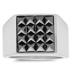 Mens Black Cubic Zirconia Stainless Steel Band