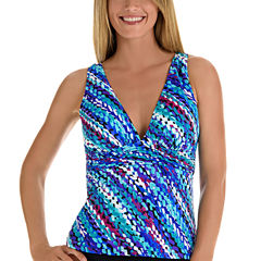 Trimshaper Pattern Tankini Swimsuit Top
