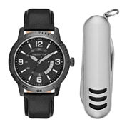 Claiborne® Mens Black Leather Strap Watch and Pocket Knife Set