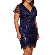 Blu Sage Short-Sleeve Beaded Sheath Dress - Plus