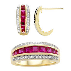 Lab-Created Ruby and White Sapphire Earring and Ring Boxed Set