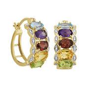 Multi-Gemstone and Diamond-Accent Hoop Earrings