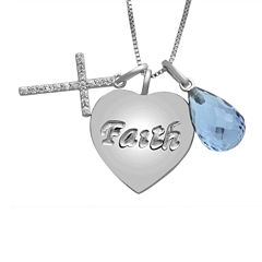Simulated Blue Topaz Drop, Cross and Heart Charm Necklace