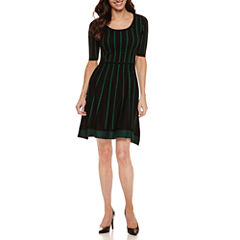 Danny & Nicole Elbow Sleeve Sweater Dress