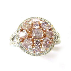 Womens 1 1/2 CT. T.W. Pink Diamond 18K Gold Engagement Ring