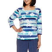 Alfred Dunner Adirondack Trail 3/4 Sleeve Square Neck T-Shirt