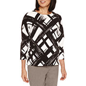 Alfred Dunner Theater District 3/4 Sleeve Pullover Sweater