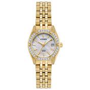 Citizen Womens Mother of Pearl Dial Gold Tone Bracelet Watch-EU6062-50D