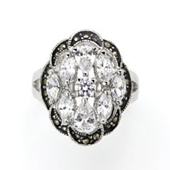 Sparkle Allure Gray Silver Over Brass Cluster Ring