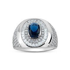 Mens Oval Blue Sapphire