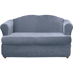 SURE FIT® Stretch Pinstripe 2-pc. T-Cushion Loveseat Slipcover