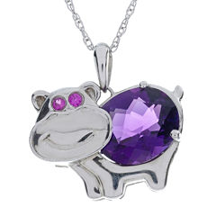Lab-Created Amethyst and Ruby Hippo Sterling Silver Pendant Necklace