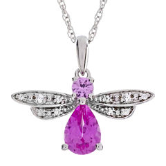 Lab-Created Pink and White Sapphire Bee Sterling Silver Pendant Necklace