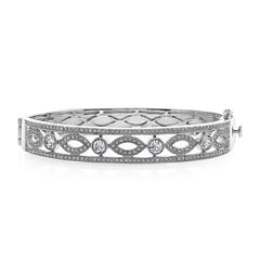 Diamond Glamour™ Diamond- and Crystal-Accent Sterling Silver Filigree Bangle Bracelet
