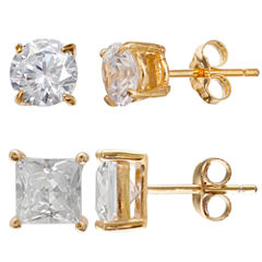 Gold Reflection Cubic Zirconia Gold Over Brass Earring Sets